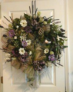 Summer Wreath, Grapevine Wreath, SHIPPING INCLUDED, Elegant Designer Hydrangea,Peony Bird Silk Floral Arrangement, Luxury Front Door Wreath by GiftsByWhatABeautifu on Etsy