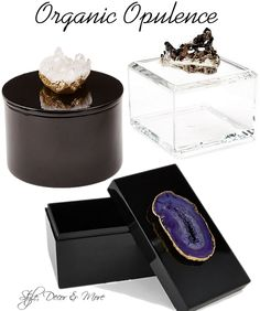 Bring Organic Opulence Indoors! Stunning agate boxes! #decor  http://www.styledecordeals.com/2014/09/bring-organic-opulence-indoors.html