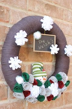 Snowman Yarn Wreath with Chalkboard  by TheLandofCraft, $50.00 | https://www.etsy.com/listing/166418506/reserved-snowman-yarn-wreath-with | #craft #wreath #homedecor