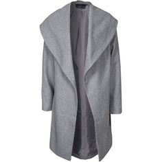 Only Onldrapy Wool Coat Otw found on Polyvore featuring outerwear, coats, jackets, light gray, womens-fashion, woolen coat and wool coat