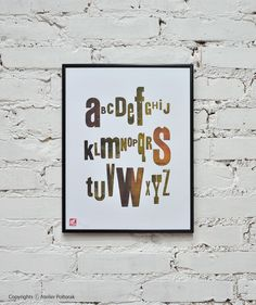 Alphabet  letterpress poster by AtelierPoltorak on Etsy