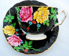 Aynsley Royal Black Texture Hand Painted Raised Roses TEA CUP AND Saucer   eBay