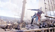 I saw him clear the deck of a Spanish galleon like it were nothin'. Posted on Tumblr.com (image credit templar-queen) by edwards-kenway.