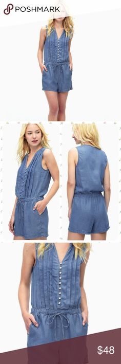 """Anthropologie Rayon Voile Pleated Romper Details  A neat row of lustrous buttons and a crisply pleated bodice perfectly balance the easy chambray construction of this wardrobe-staple romper.  Split neck Sleeveless Front partial button closure Drawstring waist Side slant pockets Pleated front Approx. 33"""" length, 3"""" inseam (size S) Made in USA 100% lyocell Machine wash cold  Size extra small. Brand new with tags! Anthropologie Pants Jumpsuits & Rompers"""