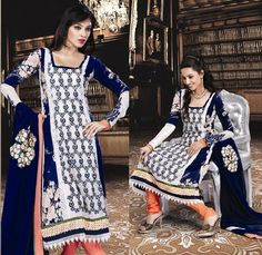 White Full Sleeve Georgette Anarkali Salwar Kameez 15836