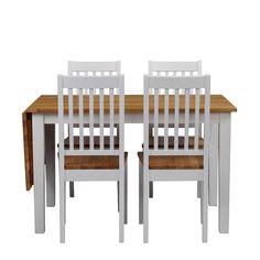 Esstisch Mit Stühlen In Weiß Holz Massiv Verlängerbar (5 Teilig) Jetzt  Bestellen Unter