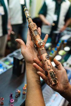 Epic steampunk vaporizer mod.  Light-sabre.  #steampunk #vape