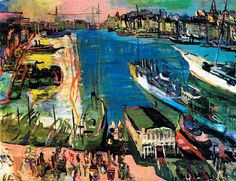 Oskar Kokoschka, The Harbour of Marseille, 1925. Oskar Kokoschka was an Austrian artist, poet and playwright best known for his intense expressionistic portraits and landscapes.