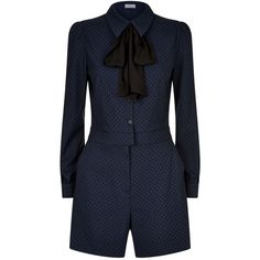 Claudie Pierlot Tie Neck Jumpsuit ($165) ❤ liked on Polyvore featuring jumpsuits, polka dot jumpsuits, navy blue jumpsuits, navy blue jumpsuit, blue necktie and tie neck tie