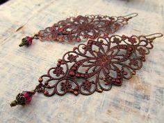 Holiday earrings burgundy dangle Bohemian earrings Bohemian jewelry on Etsy, $16.00