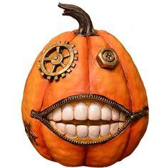 Fantastic Craft 'steam Pumpkin' Figurine ($14) ❤ liked on Polyvore featuring home, home decor, holiday decorations, halloween, orange, orange home decor, halloween figurines, pumpkin home decor, halloween pumpkin lanterns and halloween home decor