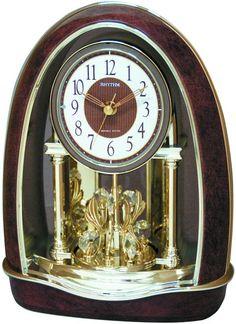 0-002116>Classic Nightingale Musical Table Clock Burl Wood