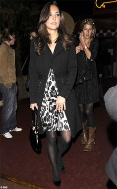 17 January 2008 Kate Middleton wore a leopard print dress to a performance of Afrika! Afrika! at the O2 Arena in London.