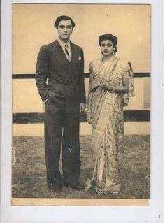 Prince Indrajitendra Narayan with wife Princess Kamala Devi at their wedding reception day in 1940s.  Courtesy - HH Uttara Devi , Kotah.