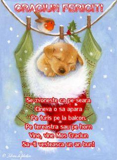 Se zvonește că pe seara  Cineva o să apară  Pe furiș pe la balcon.  Pe fereastră sau pe horn  Vine, vine Mos Craciun  Să-ți vestească un an bun! Christmas Ornaments, Holiday Decor, Mai, Quotes, Xmas Ornaments, Quotations, Christmas Jewelry, Christmas Baubles, Quote