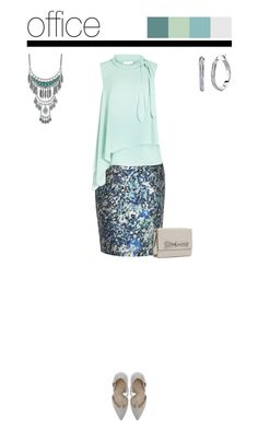 Office outfit: Aqua - Beige by downtownblues on Polyvore #officewear  #pencilskirt  #abstractprint