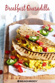 Who can resist a delicious breakfast quesadilla with colorful veggies, eggs, and melted cheddar cheese? It's like a grilled cheese sandwich… for breakfast. Get the recipe here! // healthy recipes // breakfast recipes // vegetarian // mexican recipes // breakfast ideas // eggs // Beachbody // BeachbodyBlog.com