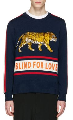 Gucci Navy 'Blind for Love' Tiger Sweater from SSENSE (men, style, fashion, clothing, shopping, recommendations, stylish, menswear, male, streetstyle, inspo, outfit, fall, winter, spring, summer, personal)