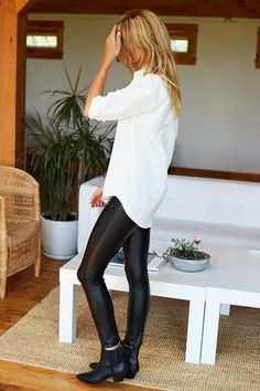 Cute outfit idea to copy ♥ For more inspiration join our group Amazing Things ♥ You might also like these related products: - Skirts ->. Mode Outfits, Night Outfits, Stylish Outfits, Fall Outfits, Leather Pants Outfit, Spanx Faux Leather Leggings, Leather Skirts, Legging Outfits, Minimalist Fashion