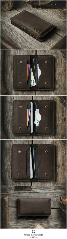 """This simple wallet was designed to hold two phones, your cash or cards in one compact and safe haven. Two compartments are wool lined so phone is well protected. Plus size wallets can be used in combination with smaller phones (iPhone 8 / 7 / 6s plus + iPhone X / 8 / 7 / 6s)    PERSONALIZATION:  If you have selected this option, please tell us your initials in the """"Special instructions for seller"""" box during checkout."""