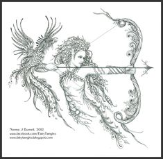 Elf - Phoenix - Zentangle - Doodles (By Norma Burnell 2012)