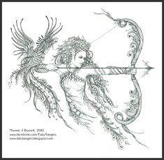 Elf - Phoenix - Zentangle - Doodles (By Norma Burnell 2012)