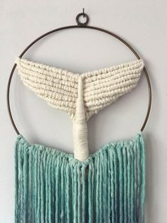 Whale Tail/Modern Macrame/Macrame Wall Hanging/Dreamcatcher/Whale Tail Wall Hanging/Ocean Tapestry/Nursery/Baby Gift/Coastal Art/Turquoise – Famous Last Words Diy Macrame Wall Hanging, Macrame Art, Macrame Knots, Macrame Dress, Macrame Supplies, Macrame Projects, Art Turquoise, Modern Macrame, Whale Tail