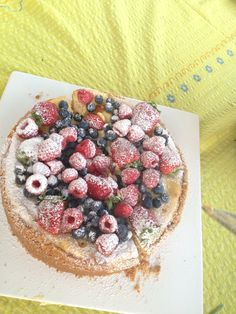 Baked Lemon Cheese cake topped with fresh berries