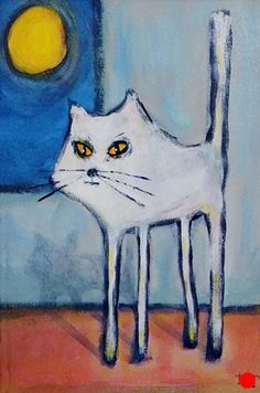 Moon Cat by Lee Smith, Acrylic, 14inches x 10inches Cat 2, New Artists, Moon, Crafts, Painting, The Moon, Manualidades, Painting Art, Paintings