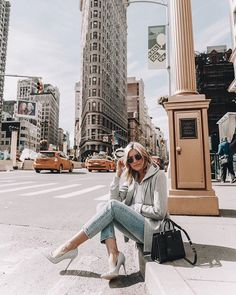 In a New York minute. Creator @emily_luciano steps out looking fab in denim heels Kristensen. Link in bio #styleoftheweek #AldoCrew