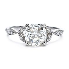 Single Stone Old Mine Cut Diamond Ring with Vintage Detailing