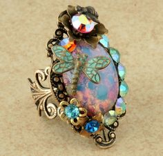 Teal Dragonfly Ring Pink Harlequin Opal Ring Flower Bee Filigree Vintage Style Rhinestone Cocktail Ring <3 <3