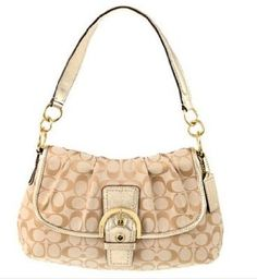 Authentic Coach Soho Signature Buckle Flap Hobo Handbag 17093 Light Khaki/Gold