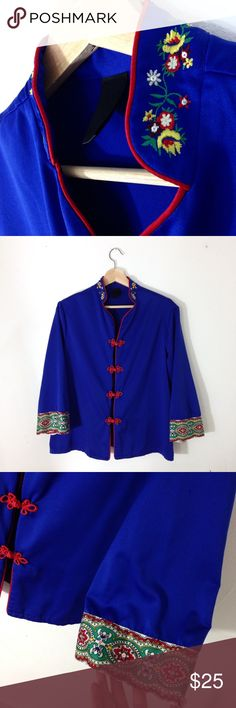 Blue Kimono Top Royal blue Kimono style shirt, size M, embroidered collar. Silky material. Lined in red piping. Perfect condition. Urban Outfitters Tops Blouses