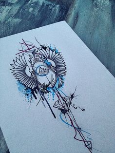 tattoo abstract girl diamond crystal red blue scarab bug splatter