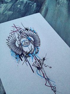 tattoo abstract girl diamond crystal red blue scarab bug splatter