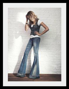 True Religion Carrie Bell Bottom denim jeans