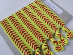 Yellow softball hair ties set of hairties elastic ponytail holders red laces print fastpitch yellow sports gift goody bag party favor - Hairstyles For All Softball Party, Softball Stuff, Baseball Stuff, Softball Mom, Volleyball, Basketball, Handmade Market, Etsy Handmade, Ponytail Bump