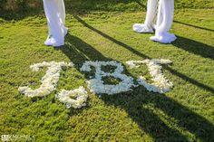 Rose petals wedding initials