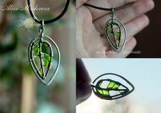 Wire Wrapped emerald leaf by Krinna.deviantart.com on @DeviantArt