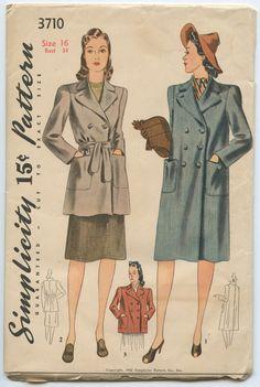 1940s Simplicity 3710 WWII Era Trench Coat Pattern Three Lengths Long Medium Short Box Coat Tie Waist Vintage Sewing Pattern Bust 34
