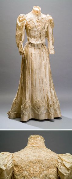 Afternoon dress, possibly French, ca. 1890s. Silk in gold/white/black pattern with linen lace applications covered with white silk thread trim. Museum of Mexican History