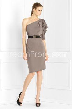Elegant Sheath/Column Knee-Length One-Shoulder Evening Dress