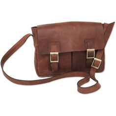 NOVICA Caramel Brown Leather Messenger Bag with Multi Pockets ($190) ❤ liked on Polyvore featuring bags, messenger bags, brown bag, zip bags, novica, brown leather bag and courier bag