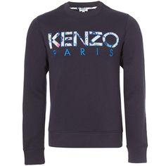 Kenzo Navy Carton Name Sweatshirt ($220) ❤ liked on Polyvore featuring men's fashion, men's clothing, men's hoodies, men's sweatshirts and mens crew neck sweatshirts