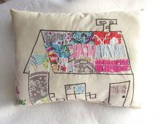 House pillow Fabric scrap pillow Drawn art pillow by Itsewbella