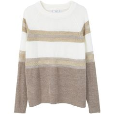 MANGO Stripe Pattern Sweater ($50) ❤ liked on Polyvore featuring tops, sweaters, striped sweaters, cable-knit sweater, long sleeve tops, brown sweater and long sleeve cable knit sweater