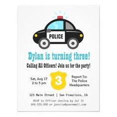 Police Car Boys Birthday Party Invitations