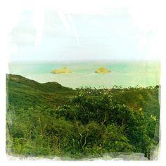 Fantastic view of the Mokulua Islands from the Lanikai Pillbox Hike. #oahu #hawaii #gohawaii #travel #hipstamatic #instagram