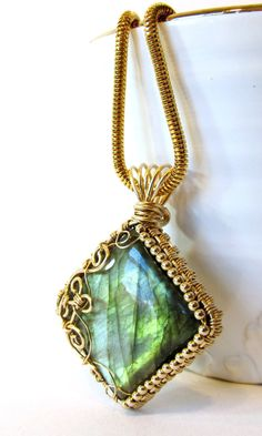 Square Wire Wrapped Pendant Gold Filled Wire by BellaDivaBeads